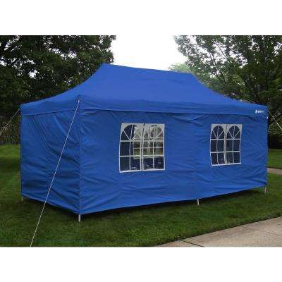 Party Tent Deluxe 10 ft. x 20 ft. Accordion Steel Frame Canopy Window/Door Walls in Blue