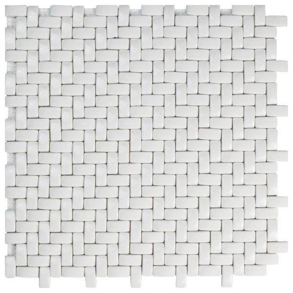 Expressions Weave White 12-1/4 in. x 12-1/4 in. x 7 mm Glass Mosaic Tile