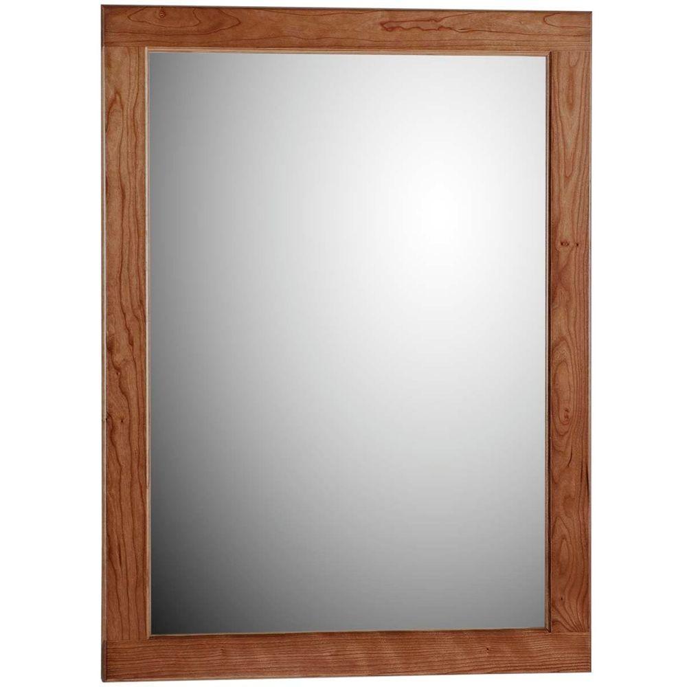 Ultraline 24 in. W x 32 in. H Framed Rectangular Bathroom Vanity Mirror in Medium alder finish