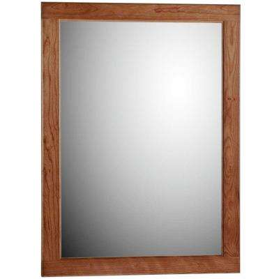 Ultraline 24 in. W x .75 in. D x 32 in. H Framed Wall Mirror in Medium Alder