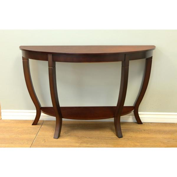 Homecraft Furniture Lewis 48 In Mahogany Half Moon Wood Console Table With Storage Rvmh155 The Home Depot - Solid Mahogany Wood Entry Wall Console Sofa Table