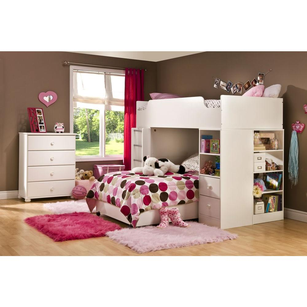 Superior South Shore Logik 4 Piece Pure White Twin Kids Bedroom Set