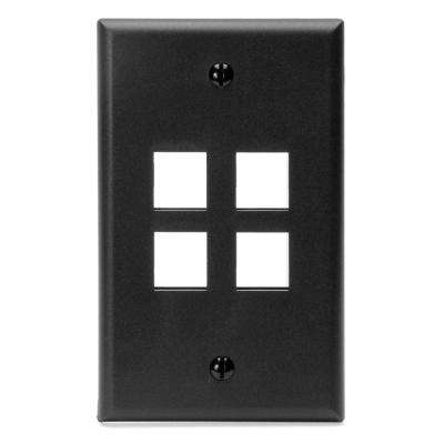 1-Gang QuickPort Standard Size 4-Port Wallplate, Black
