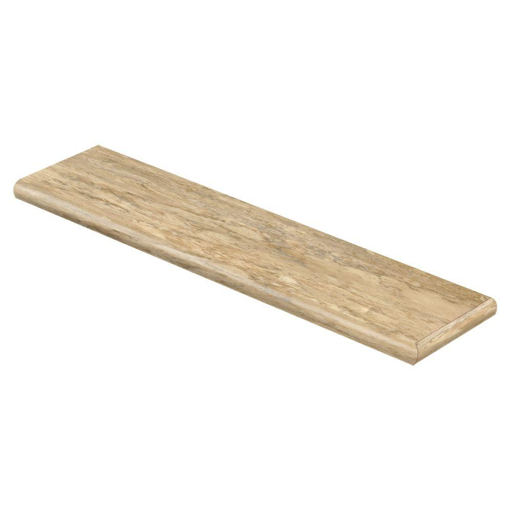Corfu 47 in. Long x 12-1/8 in. Deep x 1-11/16 in. Height Vinyl Right Return to Cover Stairs 1 in. Thick, Beige/Bisque