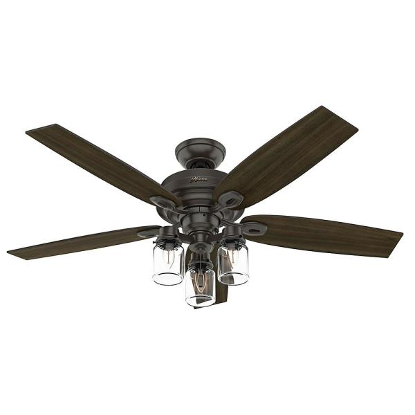 Crown Canyon II 52 in. LED Indoor Noble Bronze Ceiling Fan with Light Kit