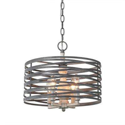 4-Light Aged Silver Chandelier with Drum Metal Shade
