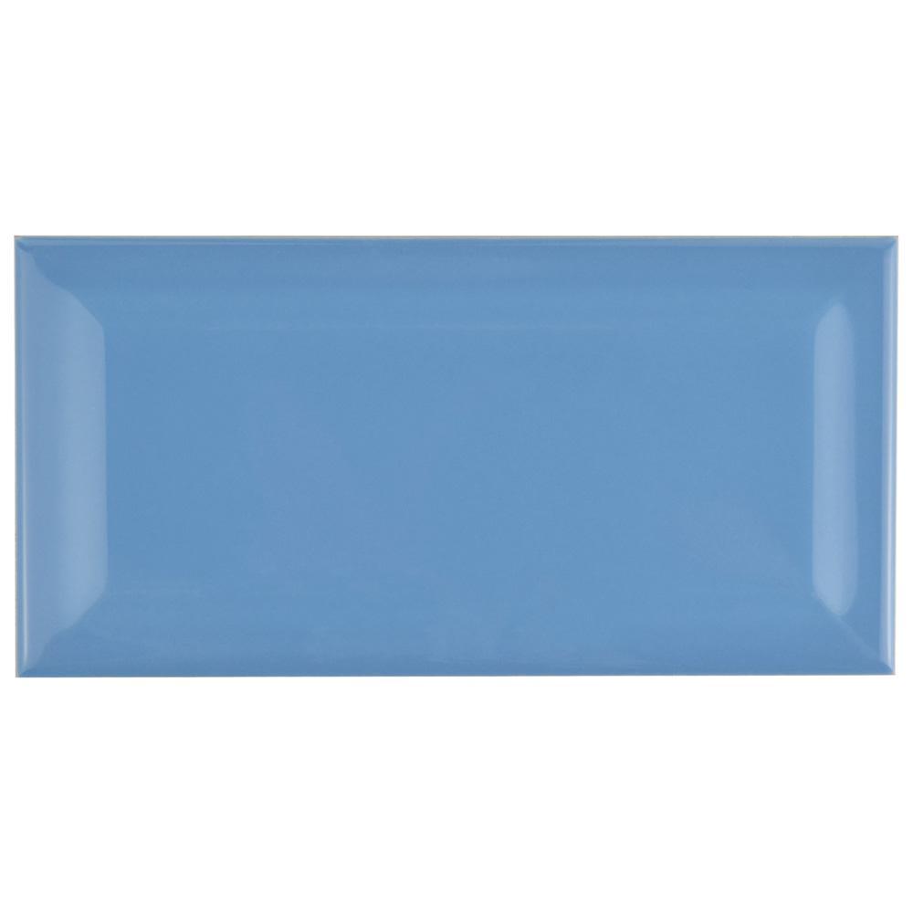 Merola Tile Park Slope Beveled Subway Calm Blue 3 in. x 6 in. Ceramic Wall Tile (36 cases / 690.48 sq. ft. / pallet)