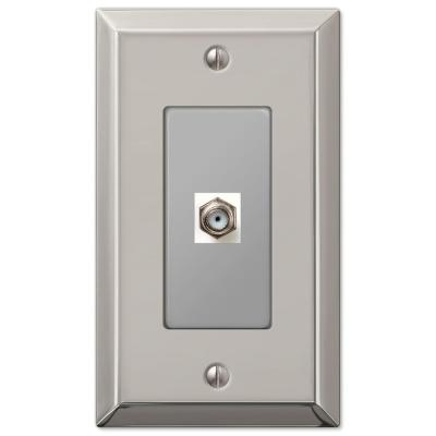 Metallic 1 Gang Coax Steel Wall Plate - Polished Nickel
