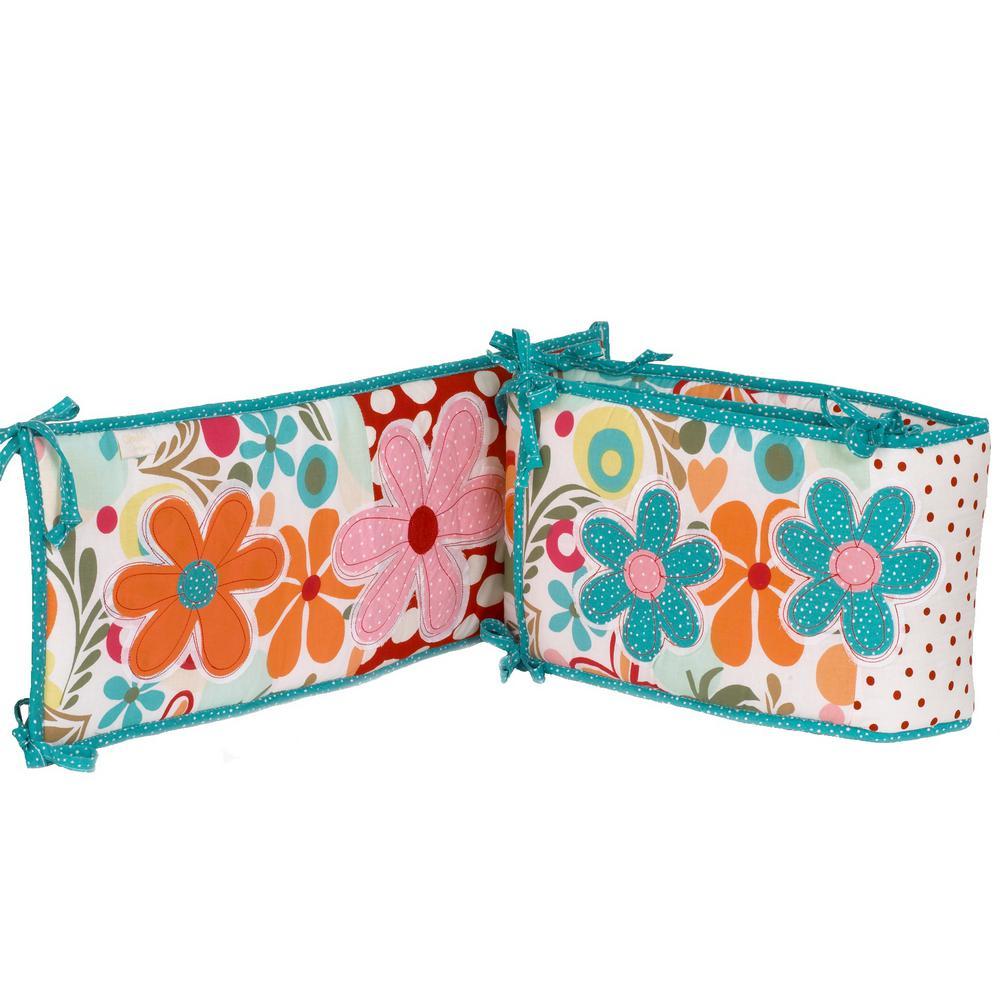 Lizzie Cotton Multi-Colorful Floral Crib Bumper Pads