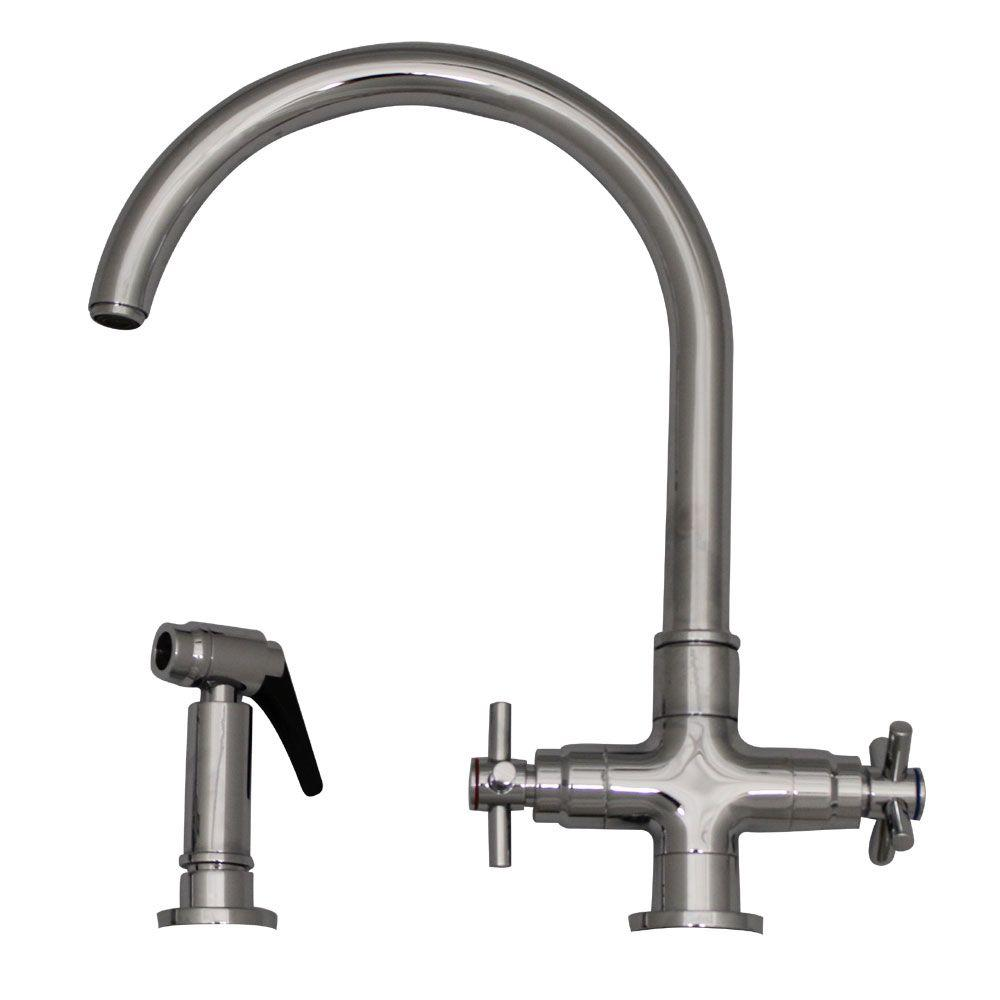 2-Handle Side Sprayer Kitchen Faucet in Polished Chrome