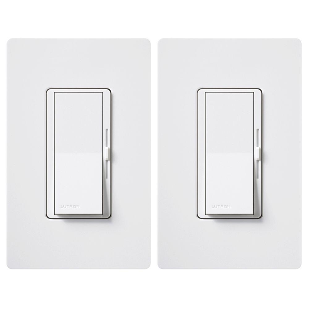 Lutron Diva LED+ Dimmer Switch for Dimmable LED, Halogen and Incandescent Bulbs, Single-Pole or 3-Way, White (2-Pack)