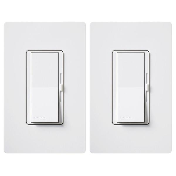 Diva LED+ Dimmer Switch for Dimmable LED, Halogen and Incandescent Bulbs, Single-Pole or 3-Way, White (2-Pack)