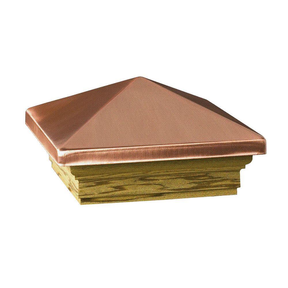 Verona 4 in. x 4 in. Copper High Point Pyramid Post Cap