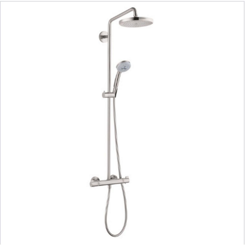 hansgrohe croma 220 shower pipe in brushed nickel 27185821 the home depot. Black Bedroom Furniture Sets. Home Design Ideas
