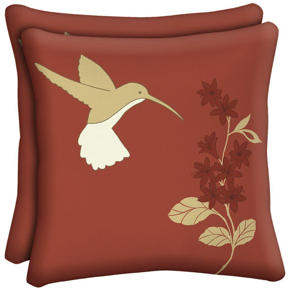 Hampton Bay Hummingbird Square Outdoor Throw Pillow (2-Pack)-AD03554B-D9D2 - The Home Depot