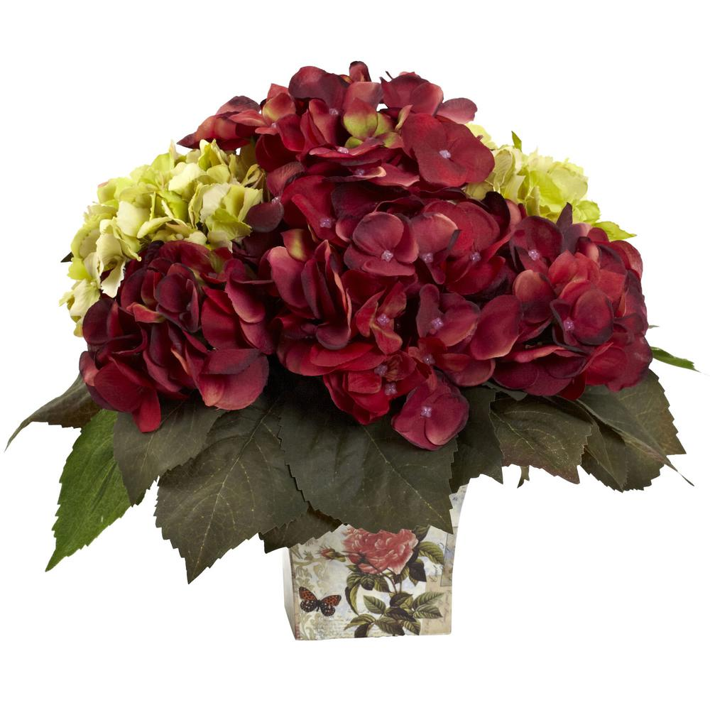 Nearly natural in green and burgundy hydrangea arrangement