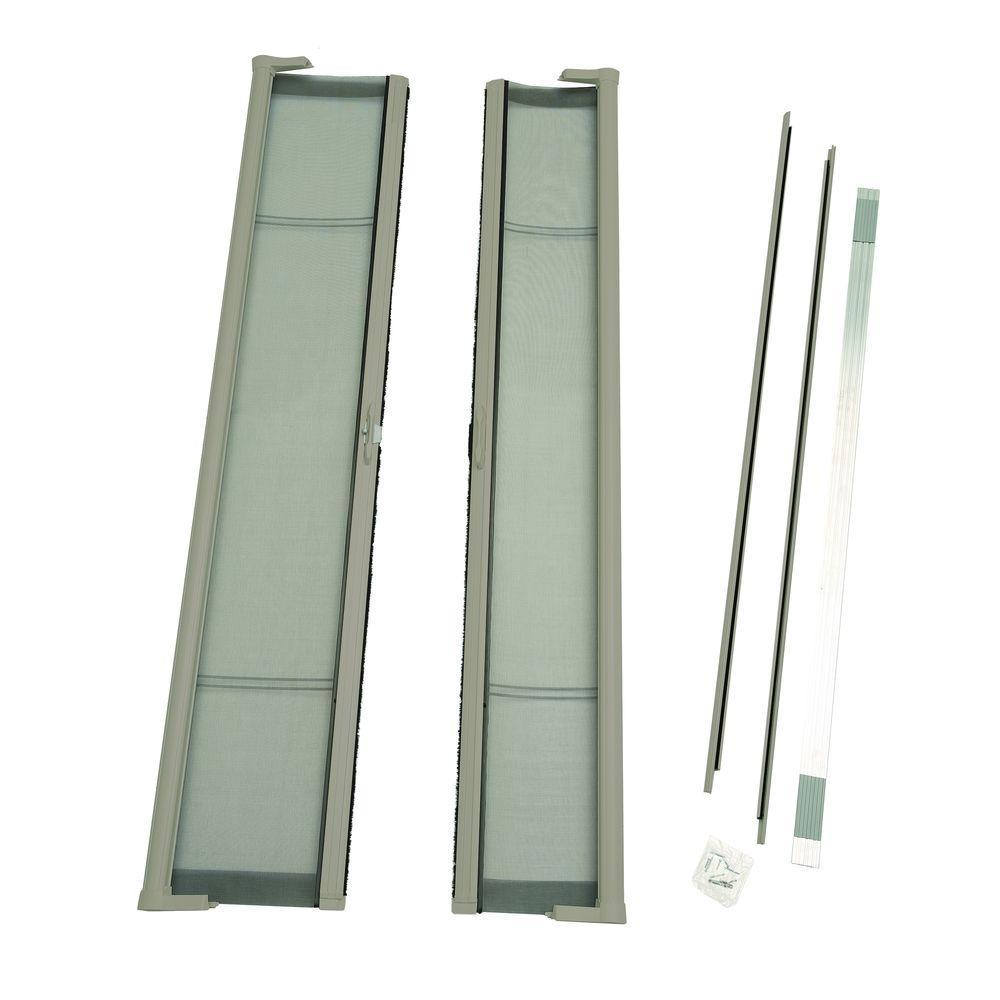 72 in. x 80 in. Brisa Sandstone Standard Height Double Door Kit Retractable Screen Door