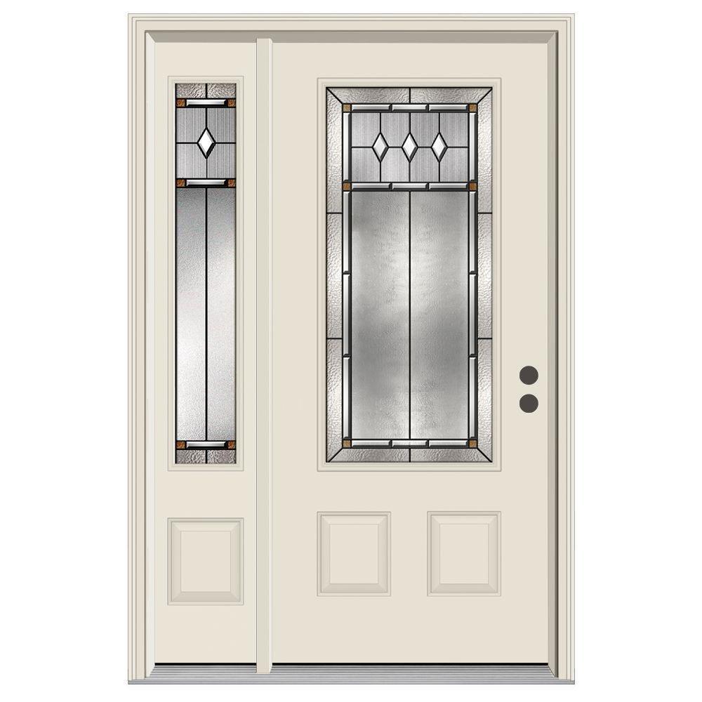 3/4 Lite Mission Prairie Primed Steel Prehung Left Hand Inswing Front Door  With Left Hand Sidelite