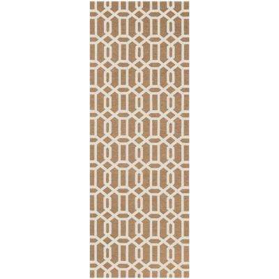 Washable Fretwork Rich Tan 3 ft. x 7 ft. Stain Resistant Runner Rug