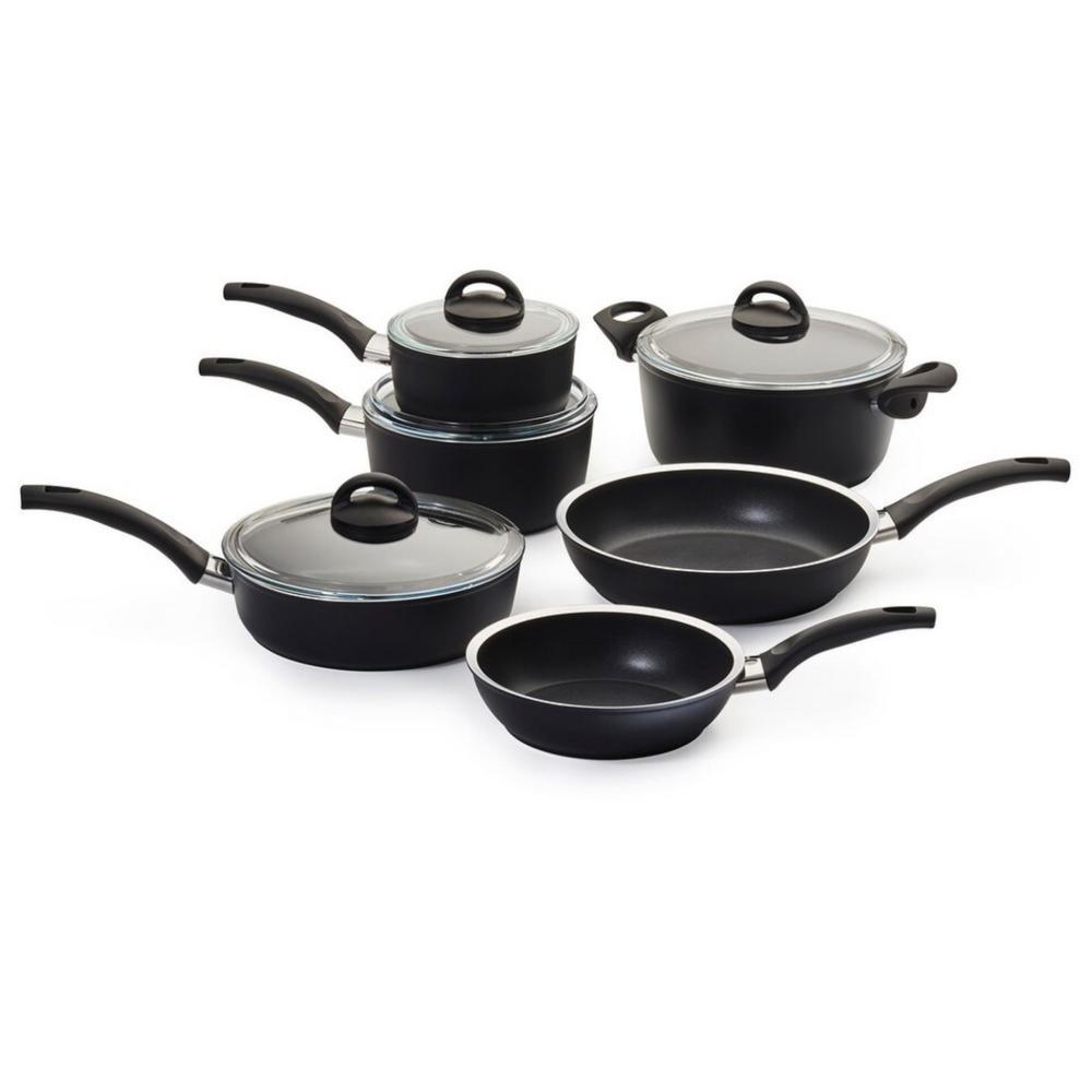 Como Forged Aluminum 10-Piece Aluminum Nonstick Cookware Set in Black