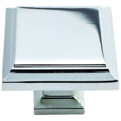 Sutton Place 1-1/4 in. Polished Chrome Square Cabinet Knob