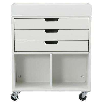 Avery 25 in. W 3-Drawer MDF Wrapping Mobile Cart in White