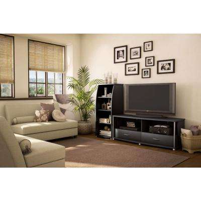 City Life Pure Black Storage Open Bookcase