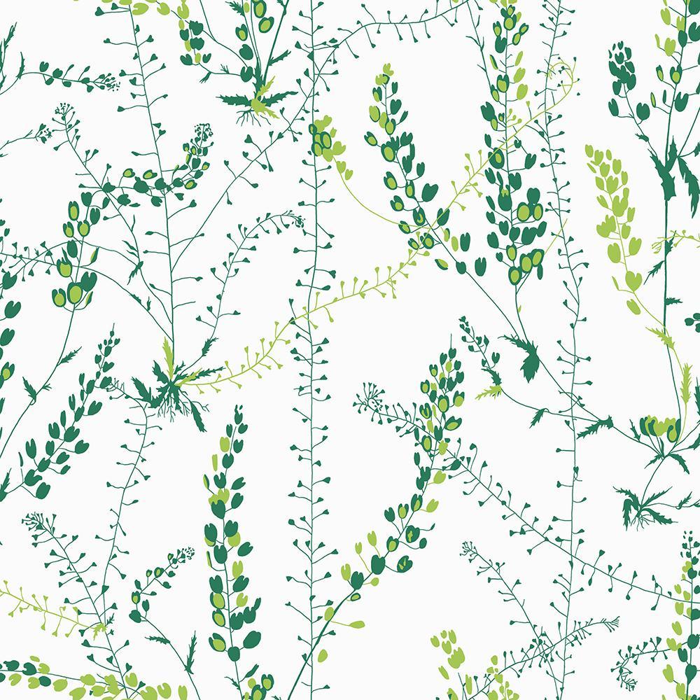 Bladranker Green Botanical Green Wallpaper Sample