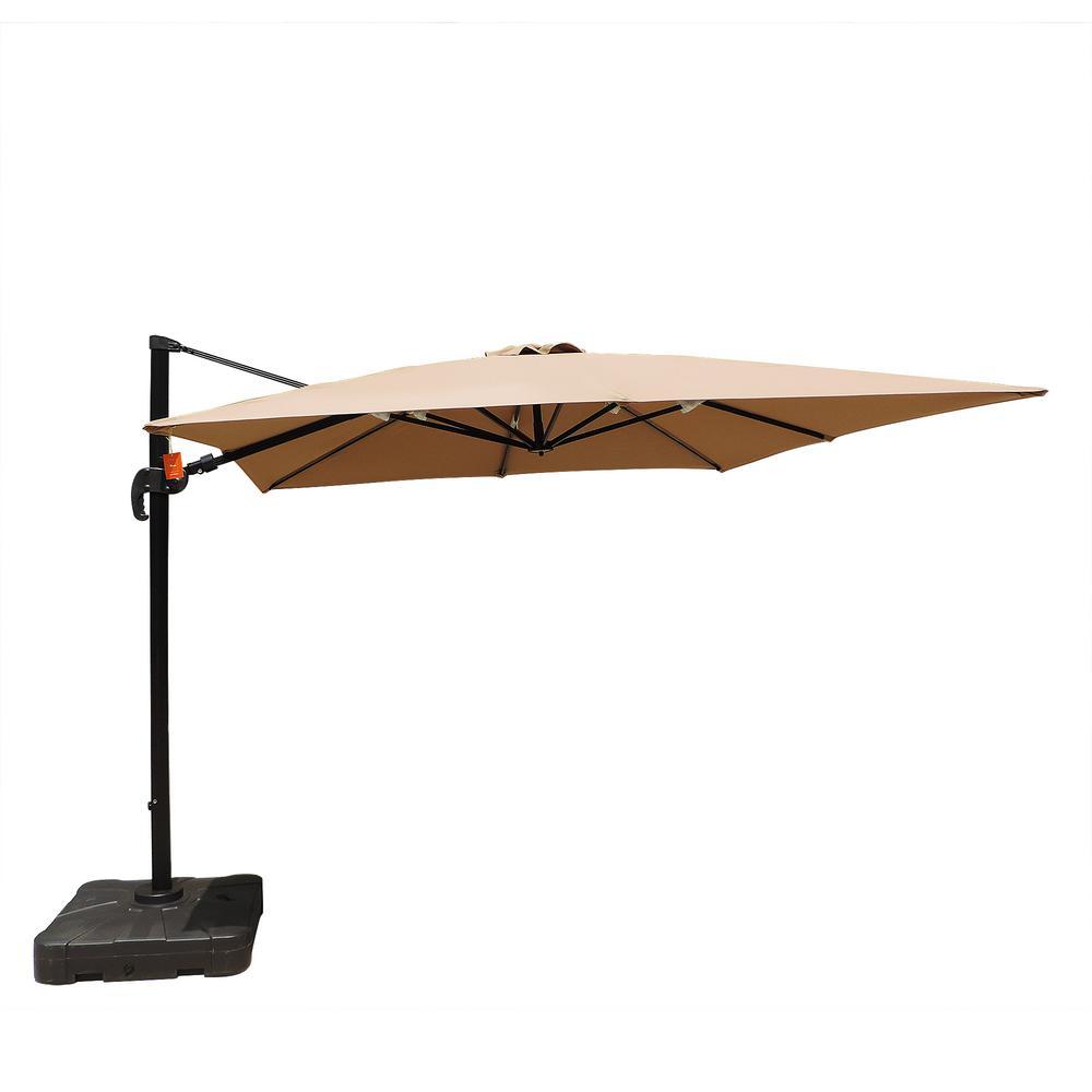 Island Umbrella Santorini II 10 ft. Square Cantilever Patio Umbrella in Stone Sunbrella Acrylic