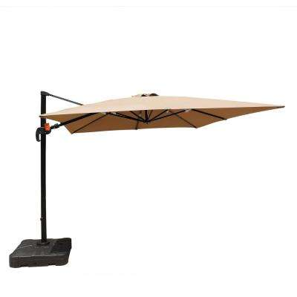 Santorini II 10 ft. Square Cantilever Patio Umbrella in Stone Sunbrella Acrylic