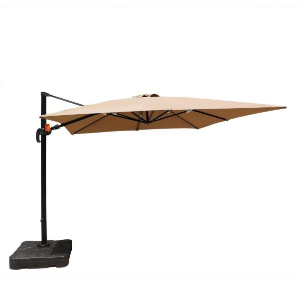 Santorini II 10 ft. Square Cantilever Patio Umbrella in Stone Sunbrella Acrylic