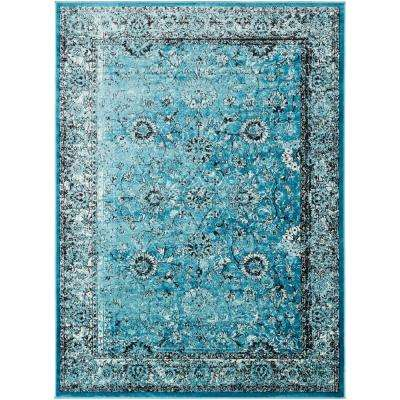 Madrid Aqua 7 ft. 10 in. x 10 ft. 3 in. Distressed Area Rug