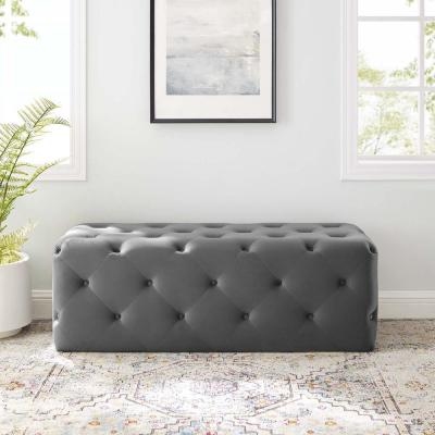 Anthem 48 in. Gray Tufted Button Entryway Performance Velvet Bench