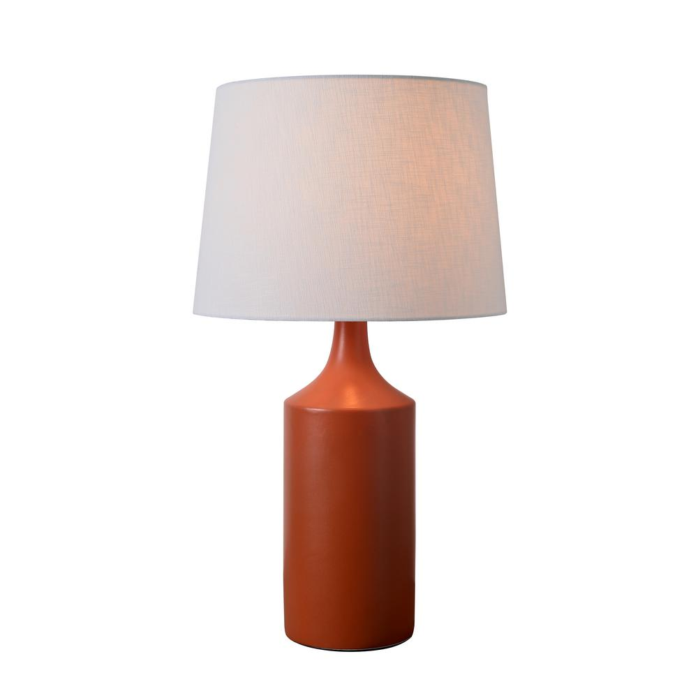Kenroy Home Crayon 25 In Orange Table Lamp With White Linen Shade