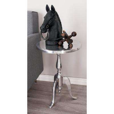 Silver Aluminum Accent Table