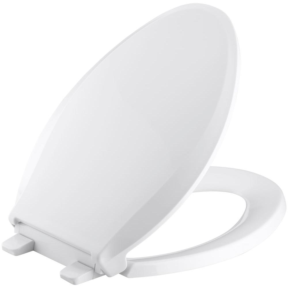 Cachet Quiet Close Elongated Closed Front Toilet Seat With Grip Tight  Bumpers In White