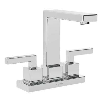 Duro 4 in. Centerset 2-Handle Bathroom Faucet with Drain Assembly in Chrome
