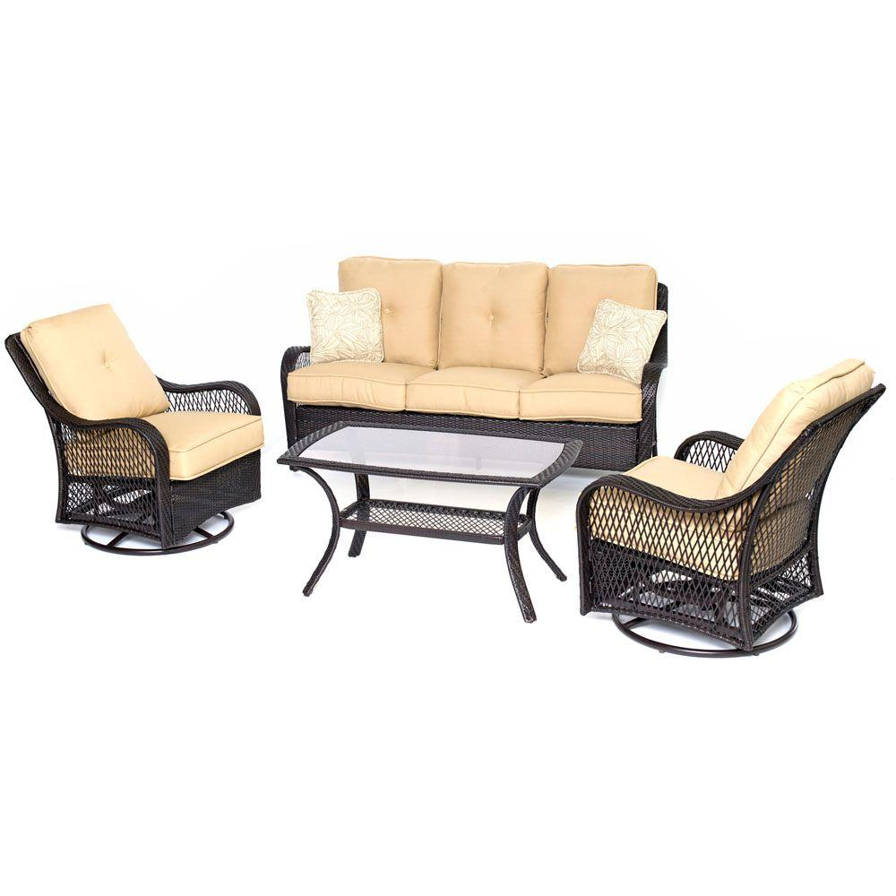 Orleans Brown 4-Piece All-Weather Wicker Patio Deep Seating Set with Sahara