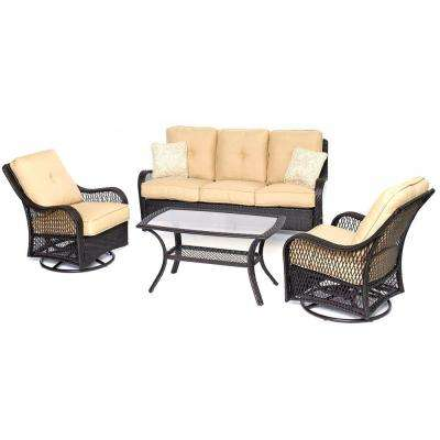 Orleans Brown 4-Piece All-Weather Wicker Patio Deep Seating Set with Sahara Sand Cushions