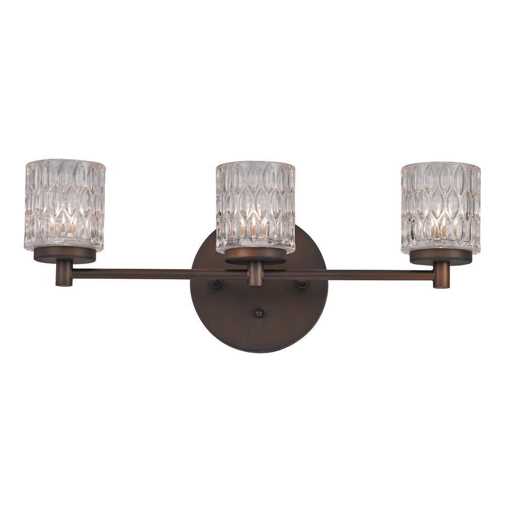 Bayou 3-Light Rubbed Oil Bronze Bath Light