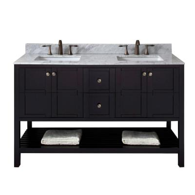Virtu USA Winterfell 60 in. W Double Bath Vanity in Espresso with Marble Vanity Top and Square Basin with Faucet