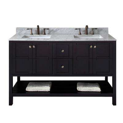 Winterfell 60 in. W Double Bath Vanity in Espresso with Marble Vanity Top and Square Basin with Faucet