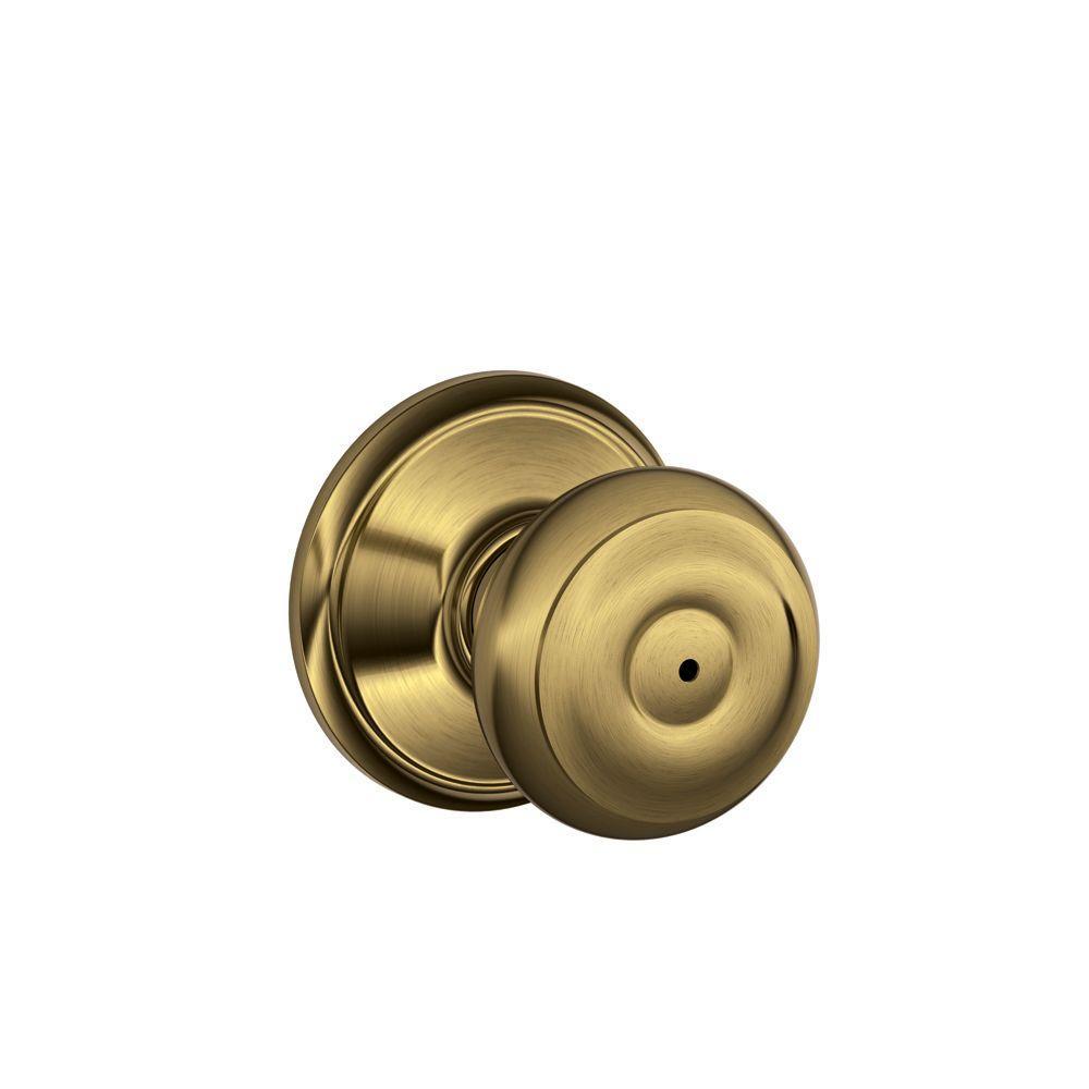 Schlage georgian antique brass privacy bed bath door knob - Bathroom door knobs with privacy lock ...