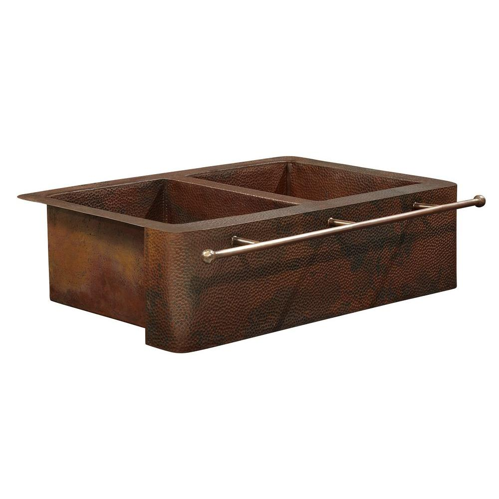 SINKOLOGY Bernini Farmhouse Apron Front Handmade Pure Solid Copper 25 in. Double Bowl 50/50 Kitchen Sink with Towel Bar