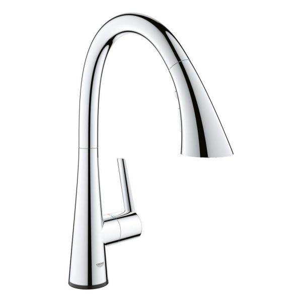 Grohe Ladylux L2 Touch Single Handle Pull Out Sprayer Kitchen Faucet With Touch Activation In Starlight Chrome 30205002 The Home Depot