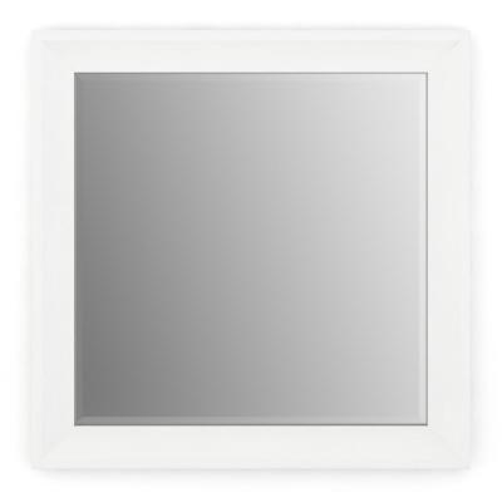 33 in. W x 33 in. H (L2) Framed Square Deluxe Glass Bathroom Vanity Mirror in Matte White