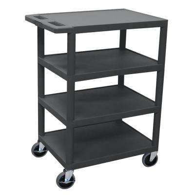 BC 24-in. 4-Shelf utility Cart  in Black