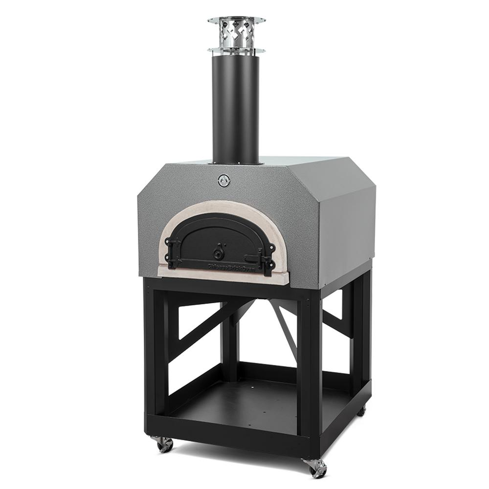 CBO-750 40 in. x 35-1/2 in. Mobile Wood Burning Pizza Oven in Silver ...