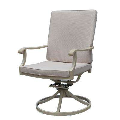 Torino Collection Swivel Aluminum Outdoor Dining Chair with Beige Cushions (2-Pack)