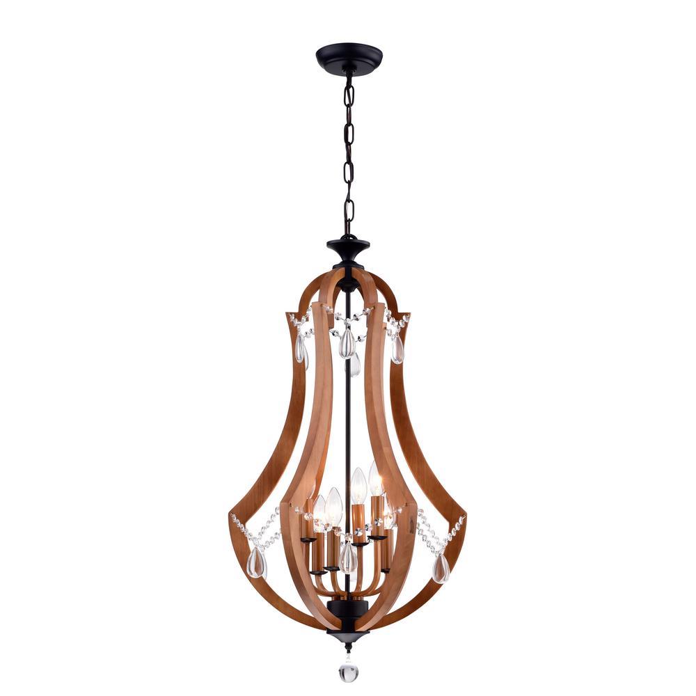 Yelant 6-Light Antique Black Wooden Pendant